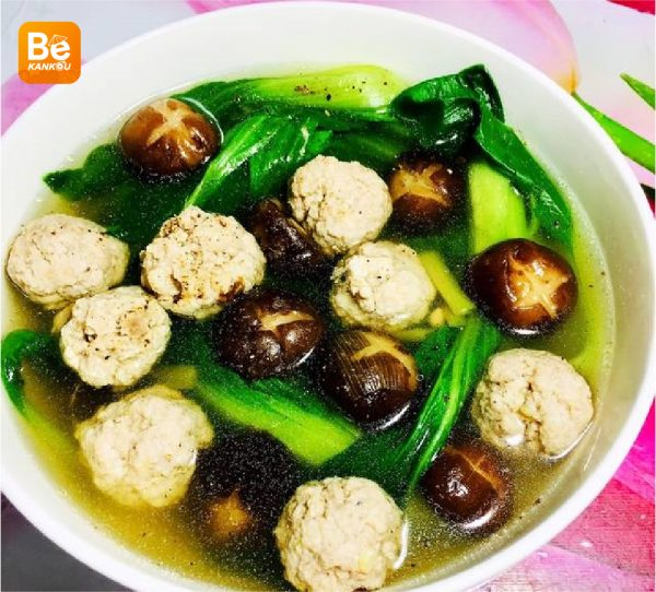 シイタケのミートボールと青梗菜スープ-021
