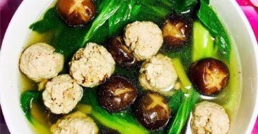 シイタケのミートボールと青梗菜スープ-020